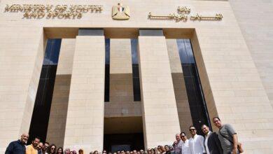 صورة وزير الشباب والرياضة يتفقد مقر الوزارة بالعاصمة الادارية الجديدة برفقة عدد من الموظفين